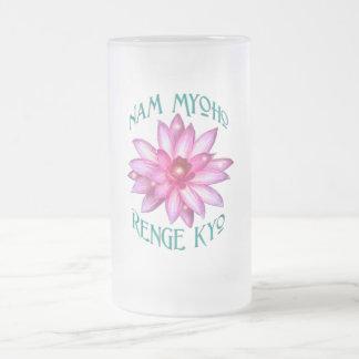 はすの花のデザインのNam Myoho Renge Kyo フロストグラスビールジョッキ