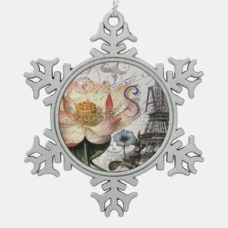 はすの花のヴィンテージのパリガーリーなエッフェル塔 スノーフレークピューターオーナメント