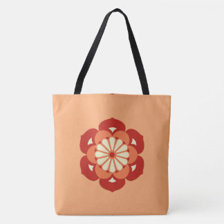 はすの花の曼荼羅、パステル調のオレンジおよびマンダリン トートバッグ