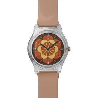 はすの花の曼荼羅、ブラウン、錆および黄色 腕時計