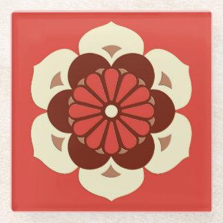 はすの花の曼荼羅、マンダリンオレンジ ガラスコースター
