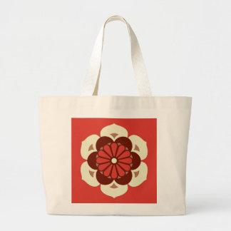 はすの花の曼荼羅、マンダリンオレンジ ラージトートバッグ