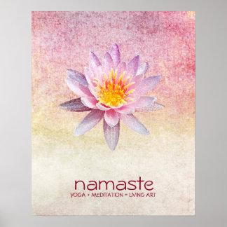 はすの花の水彩画のナマステのヨガの黙想 ポスター
