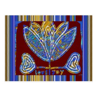 はすの花の芸術的な提示の青いインドのおもしろい ポストカード