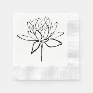 はすの花白黒インクスケッチの芸術 縁ありカクテルナプキン