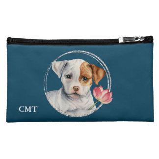 はすの花|を握っている子犬はあなたのイニシャルを加えます コスメティックバッグ