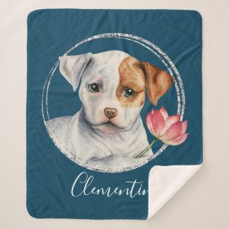はすの花|を握っている子犬はあなたの名前を加えます シェルパブランケット