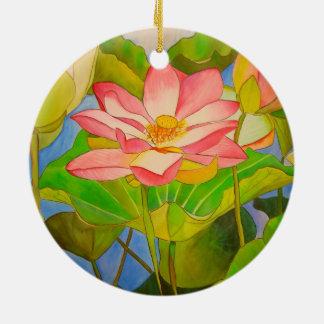 はすピンクの《植物》スイレンの水彩画の芸術の絵画 セラミックオーナメント