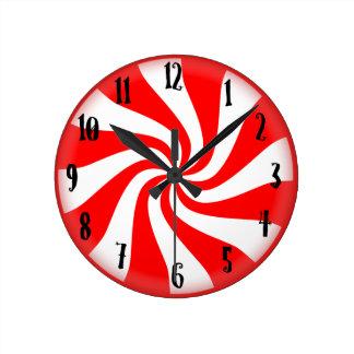 はっか菓子の休日の柱時計-媒体 ラウンド壁時計