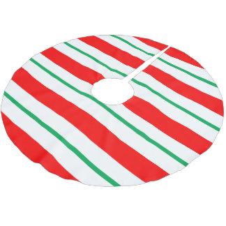 はっか菓子の杖のストライプなクリスマスツリーのスカート ブラッシュドポリエステルツリースカート
