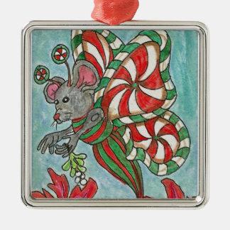 はっか菓子の蝶マウスの休日の芸術 メタルオーナメント
