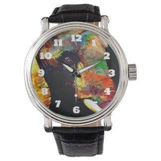 はっきりしたでカラフルな象の頭部のポートレート 腕時計