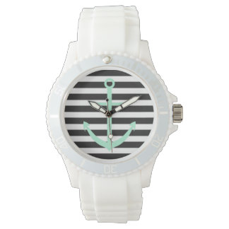 はっきりしたでストライプで真新しいいかりの航海のな腕時計 腕時計