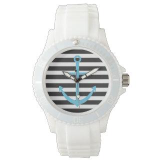 はっきりしたでストライプで青いいかりの航海のな腕時計 ウオッチ