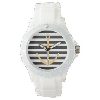 はっきりしたでストライプで黄色いいかりの航海のな腕時計 ウォッチ