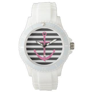 はっきりしたでストライプなピンクのいかりの航海のな腕時計 リストウオッチ