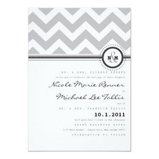 はっきりしたでストライプなモノグラムの結婚式招待状 カード