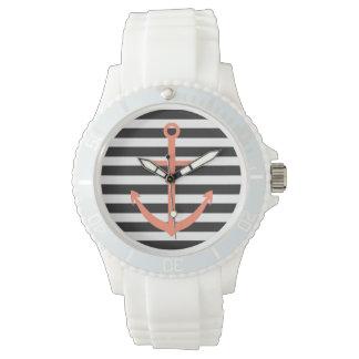 はっきりしたでストライプな珊瑚のいかりの航海のな腕時計 ウォッチ