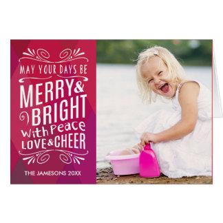 はっきりしたでメリーで、明るい休日の写真の挨拶状 カード