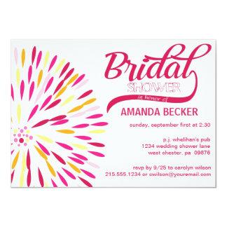 はっきりしたで抽象的な花のブライダルシャワーの招待状 カード