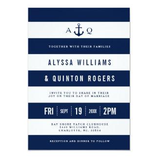 はっきりしたで航海のなテーマ海軍ストライプな結婚式の招待 カード