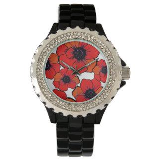 はっきりしたで赤いオレンジケシ 腕時計
