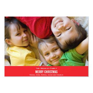 はっきりしたで赤いリボンのクリスマスカード カード