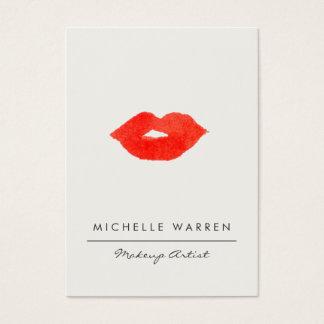 はっきりしたで赤い唇の水彩画のメーキャップアーティスト 名刺