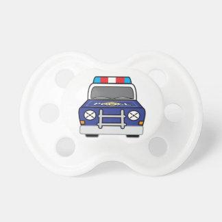 はっきりしたで青い警察のパトカー おしゃぶり