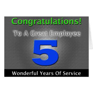 はっきりしたで、スタイリッシュな従業員の第5記念日 カード