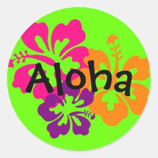 はっきりしたで、明るいハワイの花 ラウンドシール