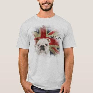 はっきりしたなイギリスのブルドッグのグランジなスタイルの英国国旗 Tシャツ