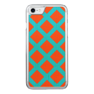 はっきりしたなオレンジおよび青緑の正方形パターン CARVED iPhone 8/7 ケース
