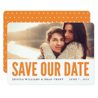 はっきりしたなオレンジモダンな写真の保存日付 カード
