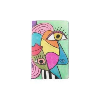 はっきりしたなカラフルの抽象芸術の立体派の近代美術は唇を注目します ポケットMoleskineノートブック