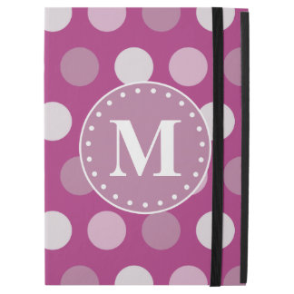 """はっきりしたなピンクの紫色の水玉模様のモノグラム iPad PRO 12.9"""" ケース"""