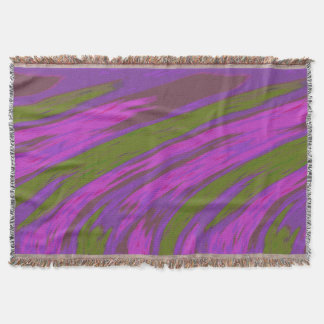 はっきりしたなモダンの抽象芸術の紫色およびオリーブ色 スローブランケット
