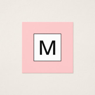 はっきりしたなモノグラムの最小主義のモダンなピンクの名刺 スクエア名刺