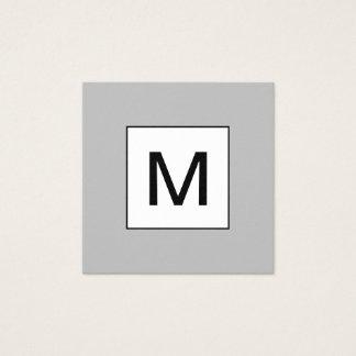 はっきりしたなモノグラムの最小主義のモダンな灰色の名刺 スクエア名刺