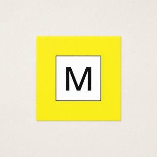 はっきりしたなモノグラムの最小主義の黄色い名刺 スクエア名刺