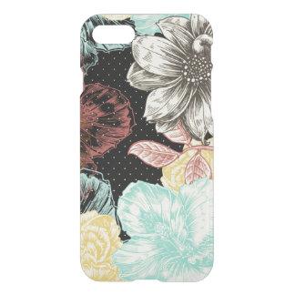 はっきりしたな刻まれた黒い花柄 iPhone 7ケース
