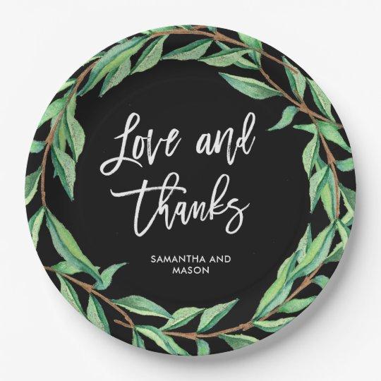はっきりしたな植物の結婚式|の愛および感謝 ペーパープレート