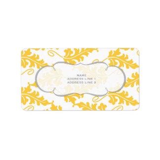 はっきりしたな植物の葉の結婚式の一定の黄色いサフラン ラベル