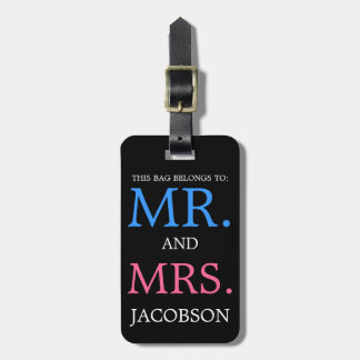 はっきりしたな氏および夫人Pinkおよび青 ラゲッジタグ