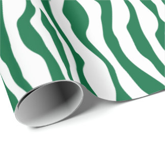 はっきりしたな深緑色および白いシマウマ動物は縞で飾ります ラッピングペーパー