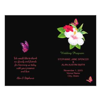 はっきりしたな熱帯ハイビスカスの蝶結婚式プログラム チラシ