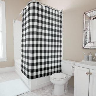 はっきりしたな白黒ギンガムパターン シャワーカーテン