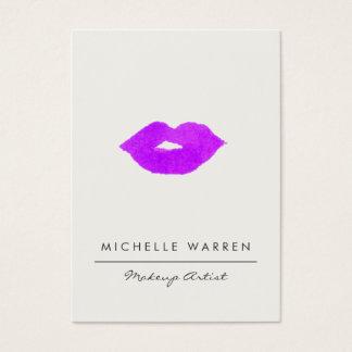 はっきりしたな紫色の唇の水彩画のメーキャップアーティスト 名刺
