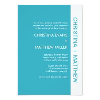 はっきりしたな色の結婚式招待状-ターコイズ カード