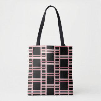 はっきりしたな連結の赤と白の長方形パターン トートバッグ